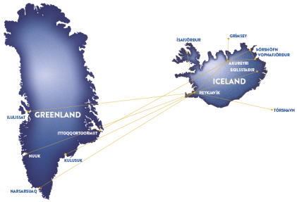 Air iceland route map