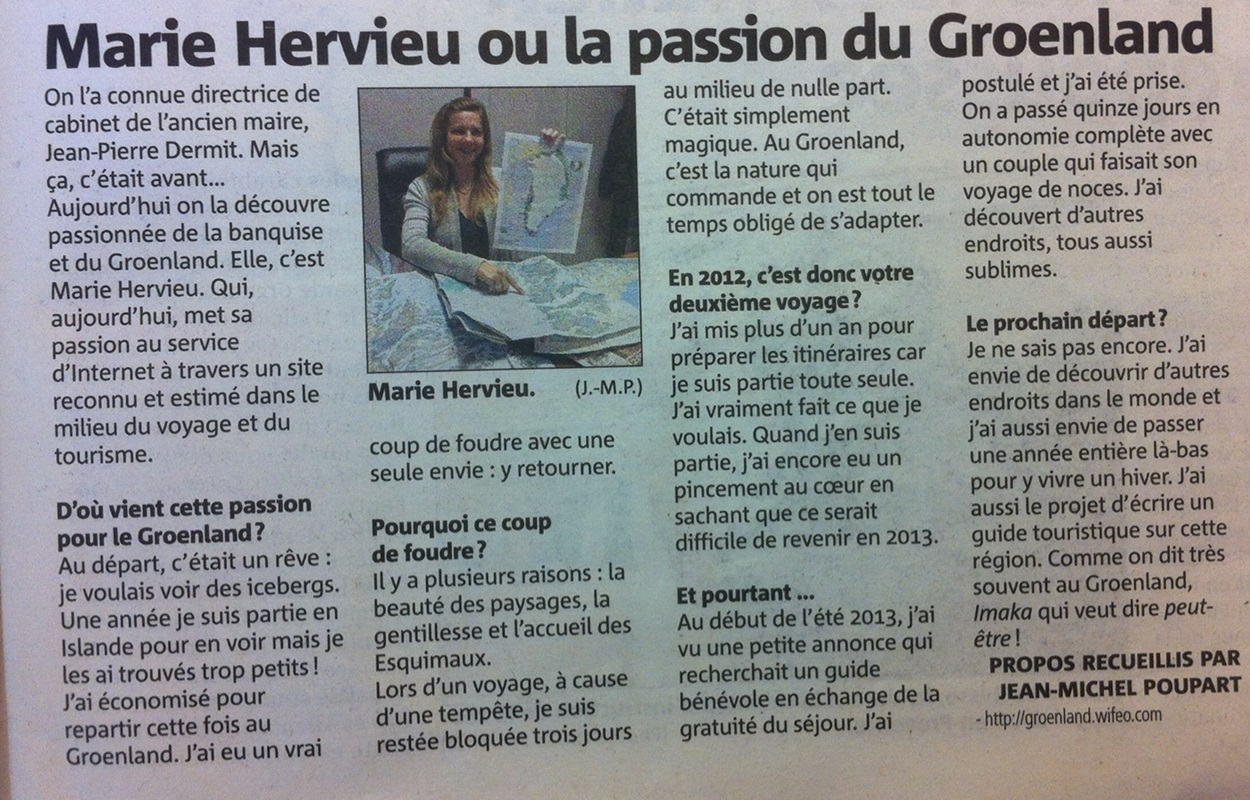 Nice-Matin 23 avril 2014 - interview Marie HERVIEU